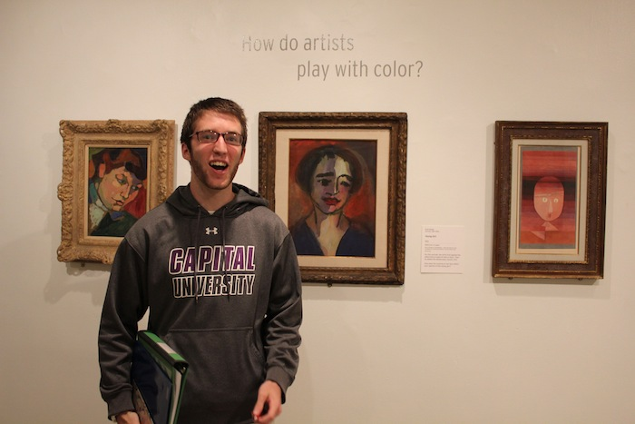 Paul, a senior at Capital University, hunts for a Baroque painting.