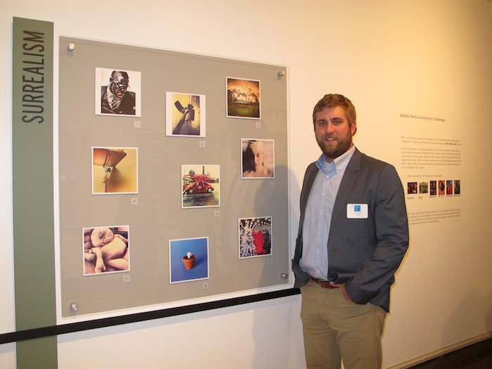 @_mattsteele_ in front of his photo (bottom middle) selected in the Surrealism challenge.