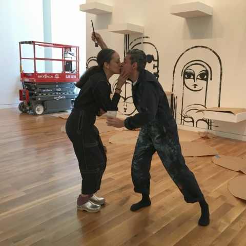 Ruben and Isabel Toledo take a break from installing Bodies@Work: The Art of Ruben and Isabel Toledo, an original exhibition for Columbus Museum of Artn