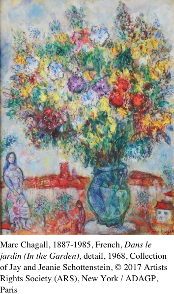 Dans le jardin (In the Garden), 1968, by Marc Chagall, Collection of Jay and Jeanie Schottenstein, Le marriage (The Wedding), 1945-46, by Marc Chagall, Collection of Jay and Jeanie Schottenstein, © 2017 Artists Rights Society (ARS), New York / ADAGP, Paris