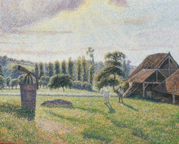 Briqueterie Delafolie à Eragny by Camille Pissarro, (1888), Private Collection
