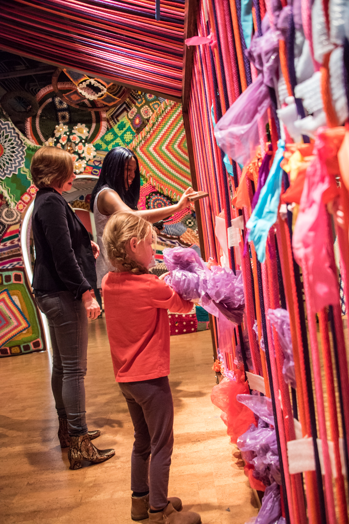 Try your hand at weaving at the life-size loom