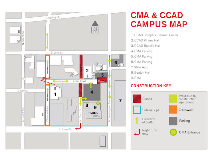 CMA CCAD Parking Map