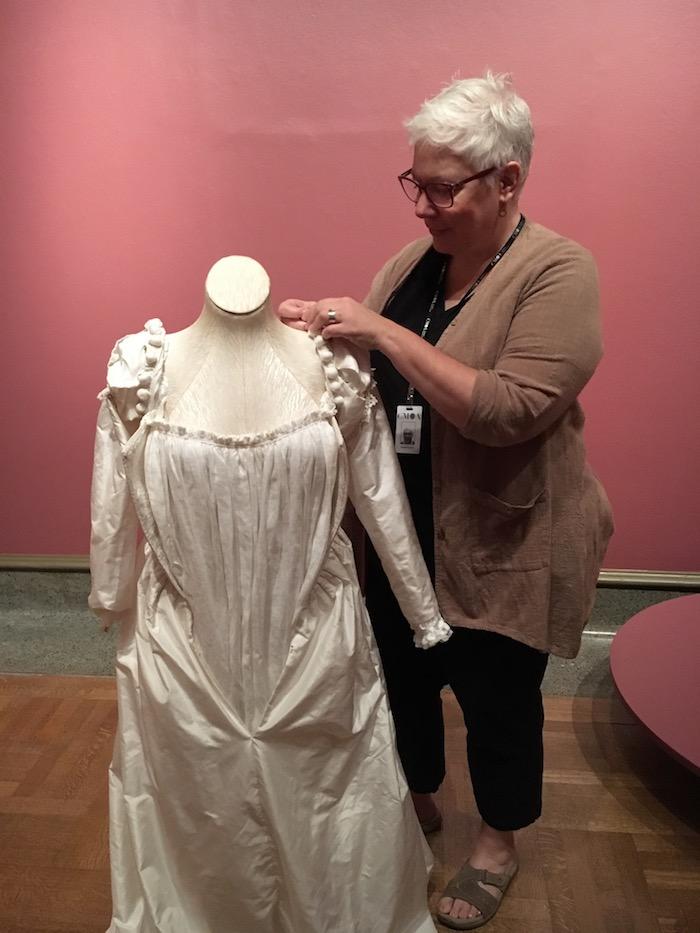 Elizabeth Hopkin works on the Titian dress re-creation