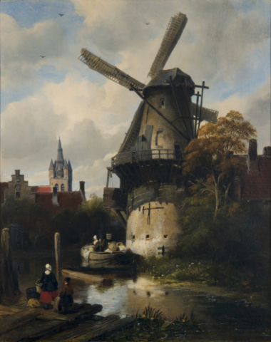 Antoine Waldorp, Mill with a view of Delft, 1836. Collection of Dordrecht Museum.jpg