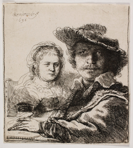 Rembrandt van Rijn, Self-Portrait with Saskia, 1636. Collection of Dordrecht Museum, on loan from Teekengenootschap Pictura