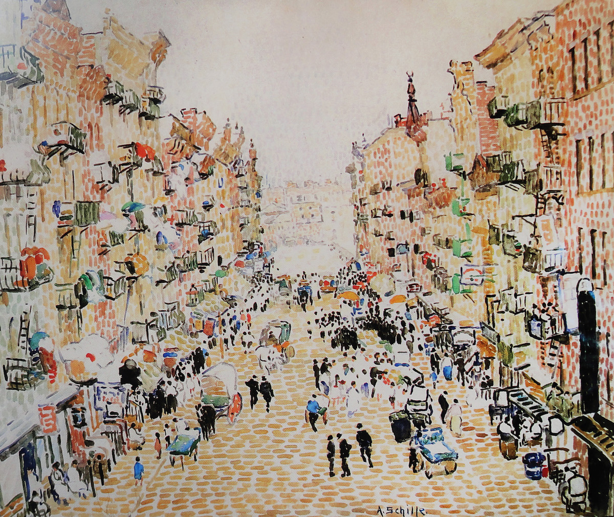 Alice Schille, Gay Spots of Color on the East Side, New York, 1915. Collection of Mr. and Mrs. Charles Atwood