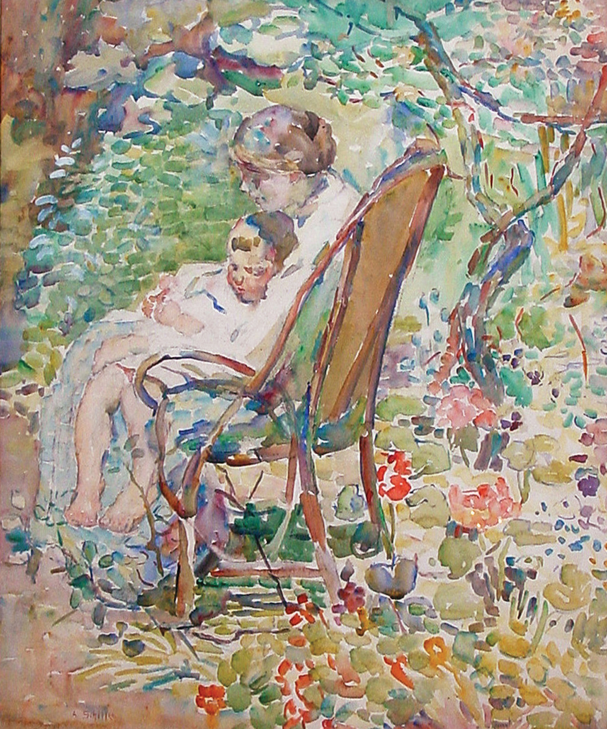 Alice Schille, Mother and Child in a Garden, France, c. 1911-12. Collection of Ann and Tom Hoaglin