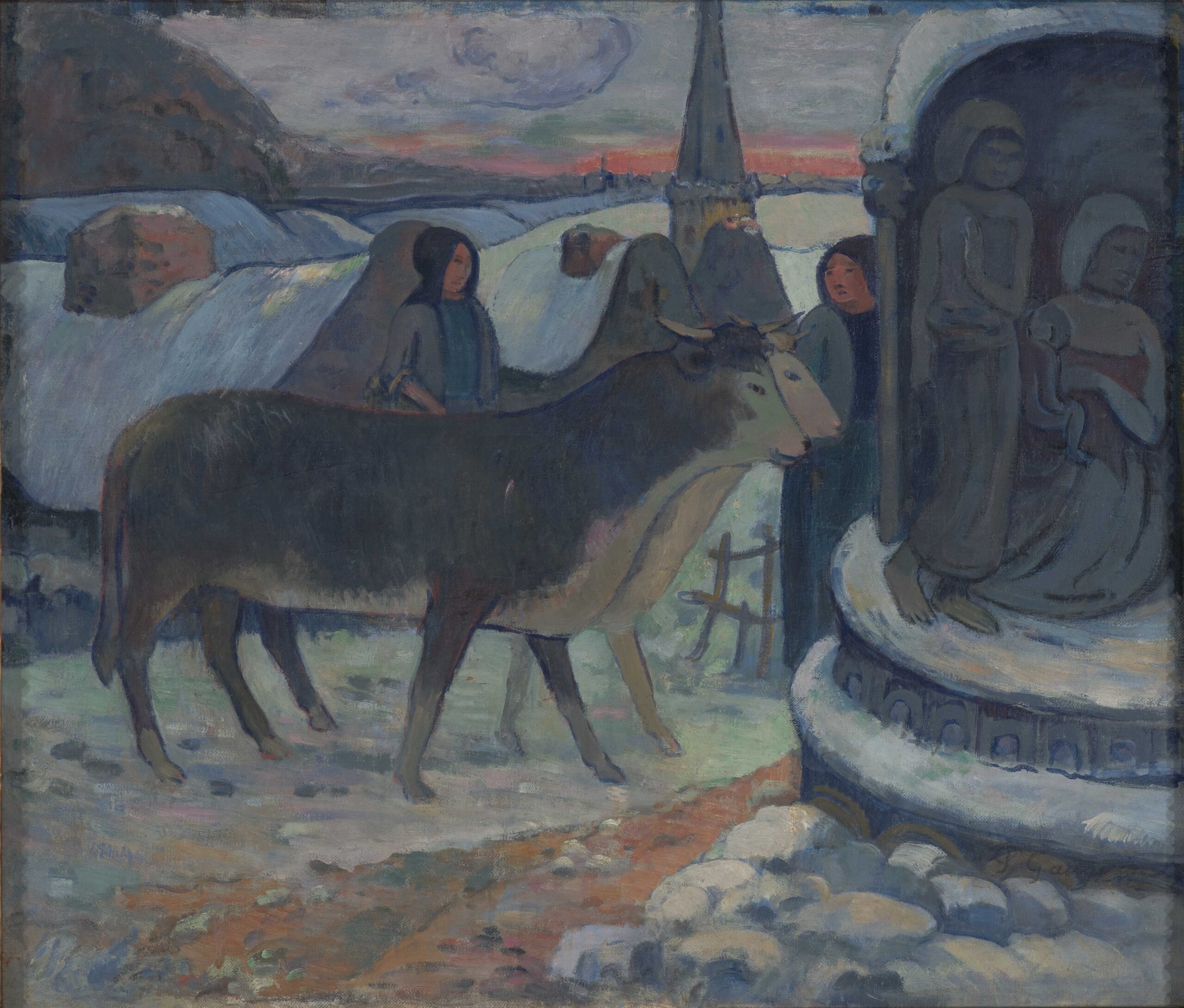 Paul Gauguin (French, 1848–1903), Christmas Night (The Blessing of the Oxen), 1902–3. Oil on canvas, 38 3/8 × 43 in. Indianapolis Museum of Art at Newfields, Samuel Josefowitz Collection of the School of Pont-Aven, through the generosity of Lilly Endowment Inc., the Josefowitz Family, Mr. and Mrs. James M. Cornelius, Mr. and Mrs. Leonard J. Betley, Lori and Dan Efroymson, and other Friends of the Museum, 1998.169