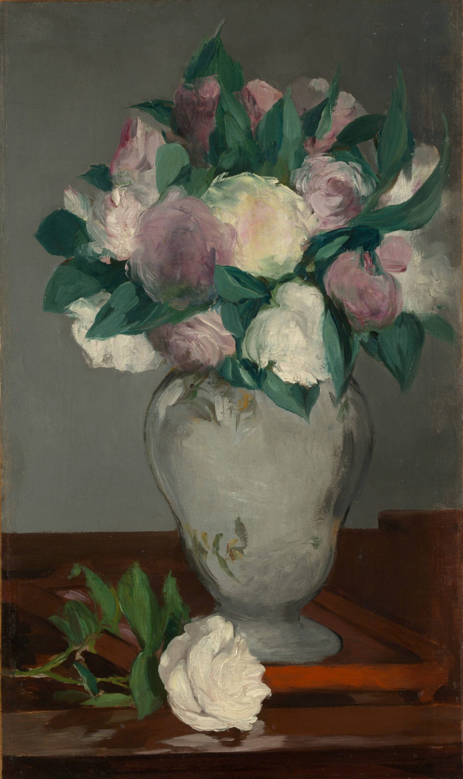 Édouard Manet (French, 1832–1883), Peonies, 1864–65. Oil on canvas, 23 3/8 × 13 7⁄8 in. The Metropolitan Museum of Art, Bequest of Joan Whitney Payson, 1975, 1976.201.16.