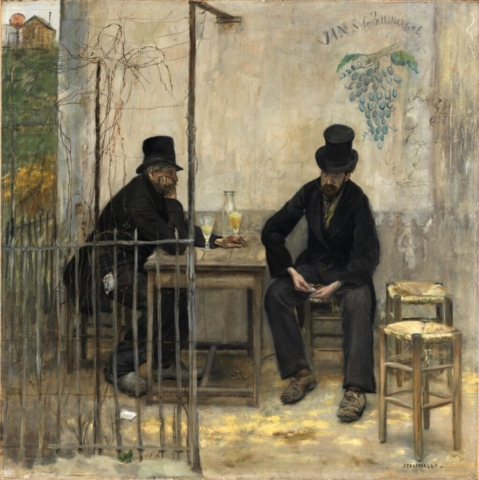 Jean-François Raffaëlli (French 1850–1924), The Absinthe Drinkers, 1881. Oil on canvas, 42 1/2 × 42 1/2 in. Fine Arts Museums of San Francisco, Museum purchase, Roscoe and Mar- garet Oakes Income Fund, Jay D. and Clare C. McEvoy Endowment Fund, Tribute Funds, friends of lan White Endowment Fund, Unrestricted Art Acquisition Endowment Income Fund, Grover A. Magnin Bequest Fund, and the Yvonne Cappeller Trust, 2010.16.