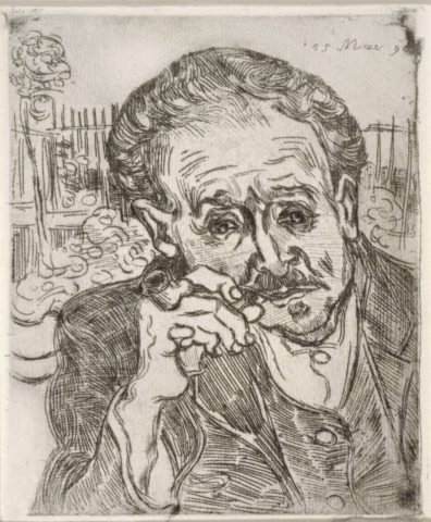 Vincent van Gogh (Dutch, 1853–1890), Portrait of Dr. Gachet (Auvers-sur-Oise), May 15, 1890. Etching, 7 × 5 3/8 in. Lent by the Minneapolis Institute of Art, Gift of Bruce B. Dayton, 1962, P.13.251.