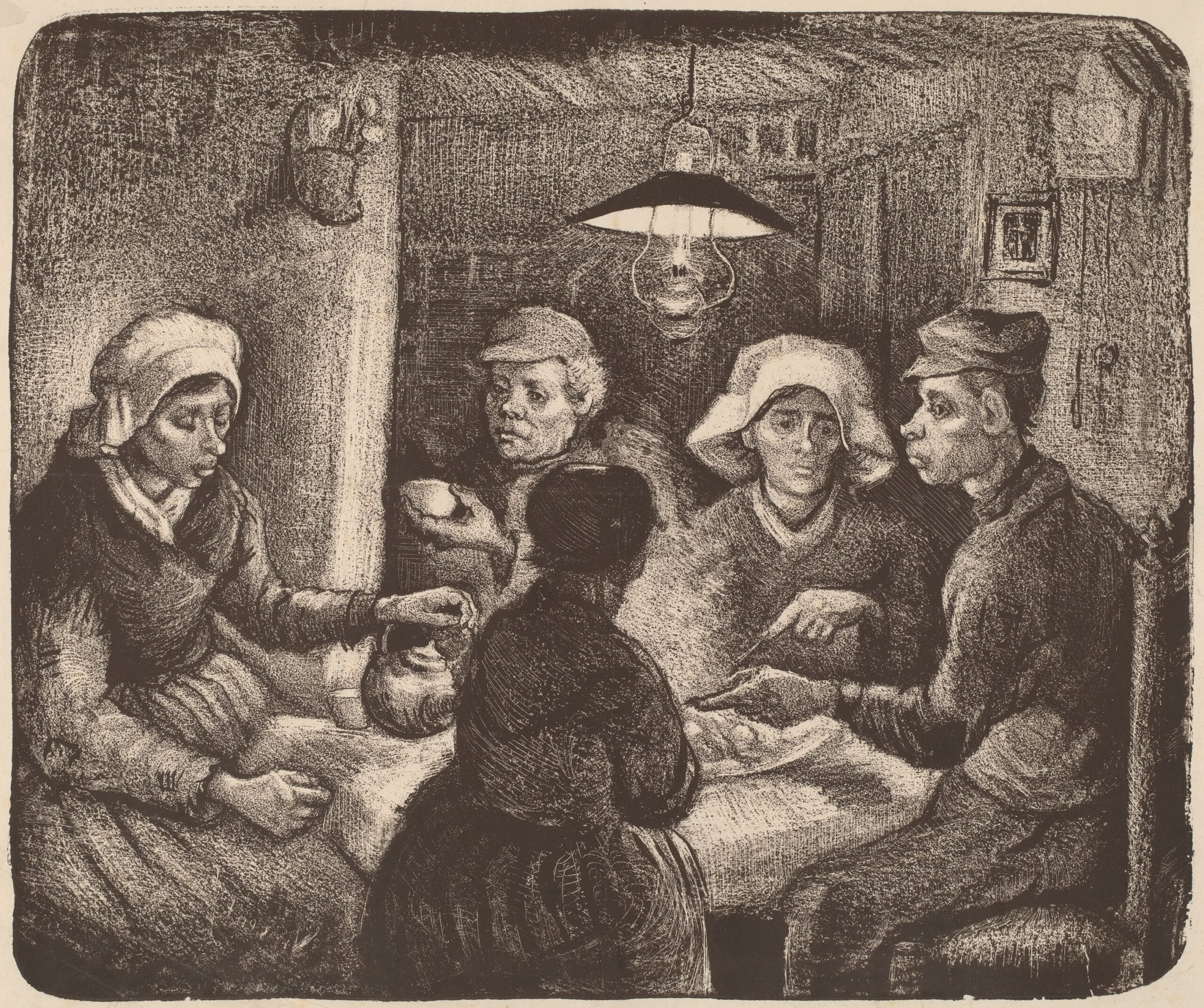 Vincent van Gogh (Dutch, 1853–1890), The Potato Eaters, 1885. Lithograph in dark brown, 10 3/8 × 12 7/16 in. National Gallery of Art, Washington, DC, Rosenwald Collection, 1951.10.33.