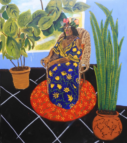 Jerrell Gibbs, Lady in Blue Dress, 2020, Acrylic, Oil stick on canvas, 80 1/4 x 70 1/4 inches, Courtesy the artist and Mariane Ibrahim, Chicago, IL