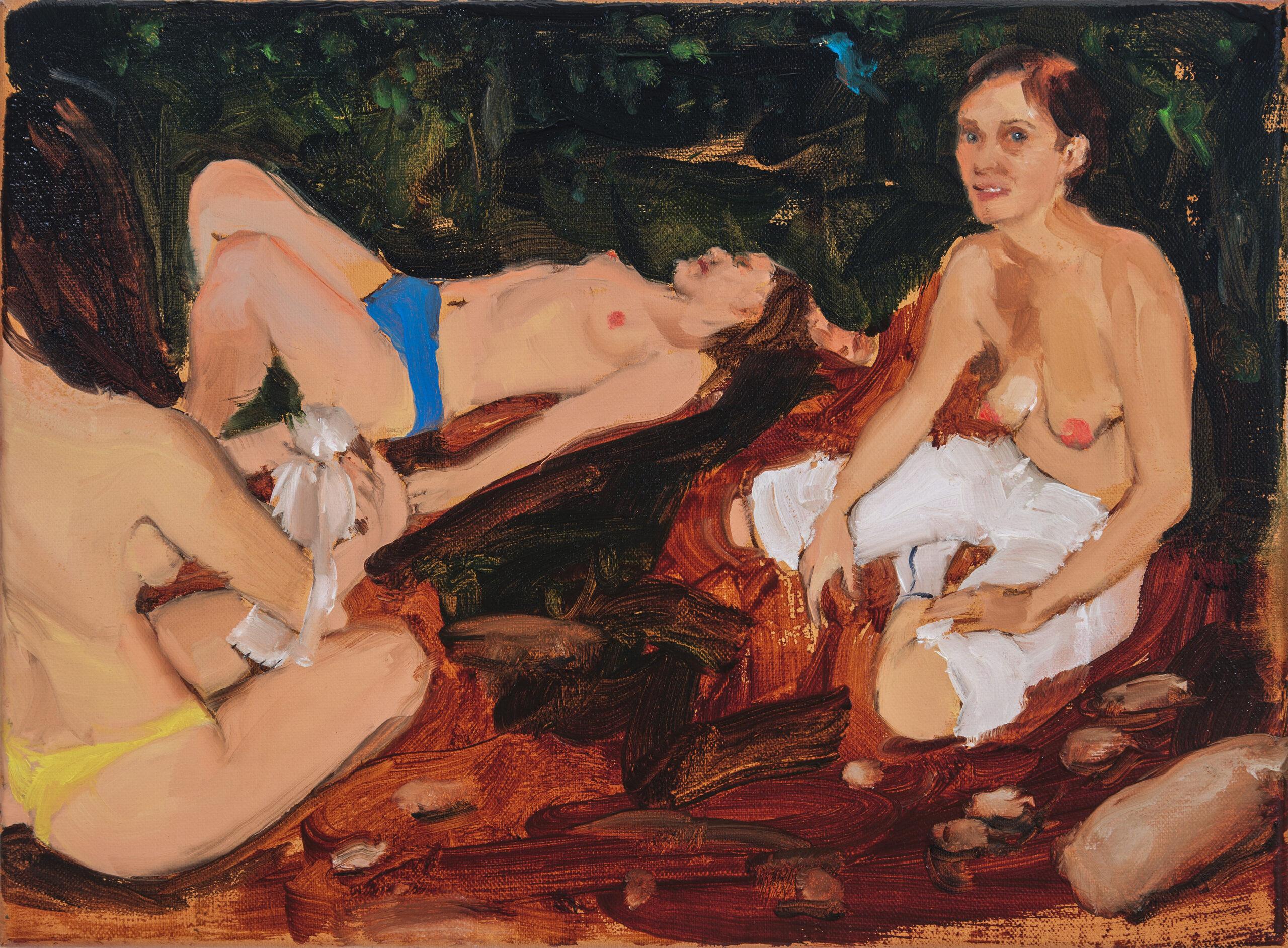 Jenna Gribbon, Talia, Hannah and Emily in my living room waiting to wrestle, 2019. Oil on linen, Courtesy of the artist and Fredericks & Freiser, New York.