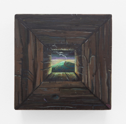Alexander Harrison, Just Over the Hill, 2021, Acrylic on panel, 4 x 4 inches, Courtesy the artist and Various Small Fires, Los Angeles / Seoul