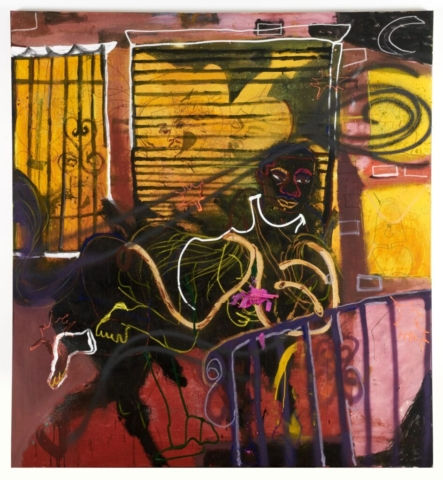Jonathan Lyndon Chase, Black Knight, 2020. Acrylic paint, spray paint, marker, oil stick, plastic on muslin, © Jonathan Lyndon Chase, image courtesy of the artist and Company Gallery, New York.