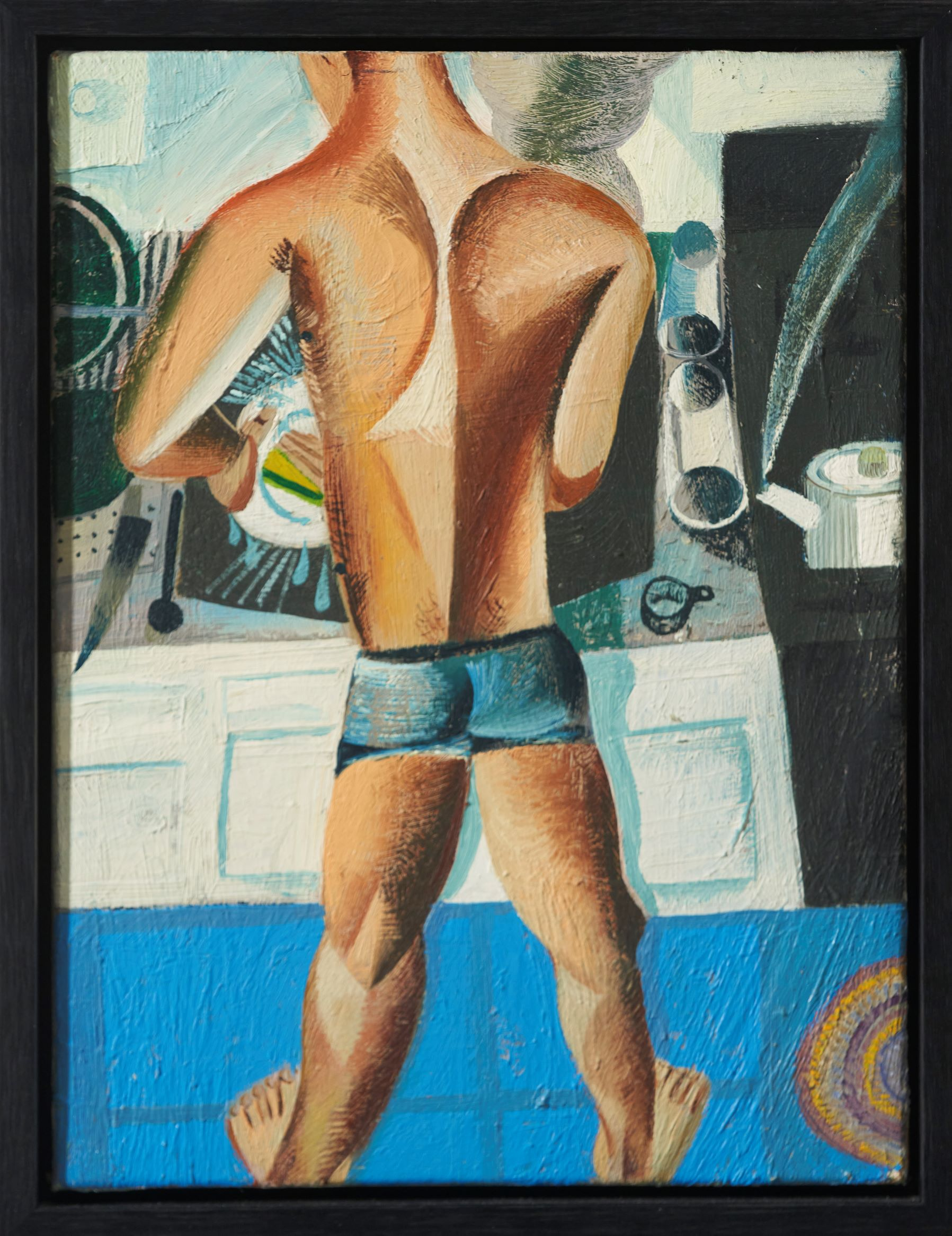 Louis Fratino, Tom Doing the Dishes, 2020, Oil on canvas, 12 x 9 Inches, Framed: 13 1/8 x 10 1/8 x 1 1/2 inches, Courtesy the artist and Ciaccia Levi, Paris, FR