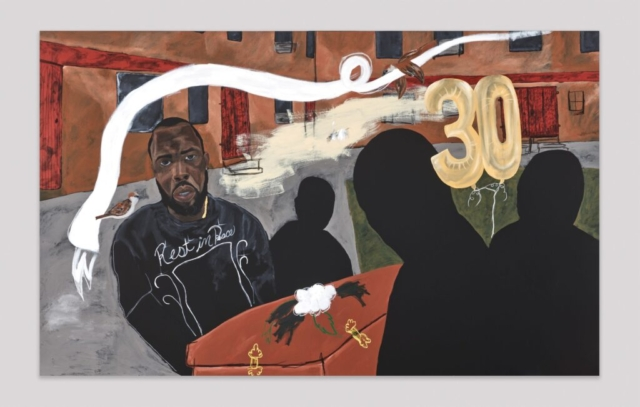 Jammie Holmes, Carrying Caskets #3, 2021, Acrylic and oil pastel on canvas, 79 3/4 x 130 inches, Courtesy the artist and Library Street Collective, Detroit, MI