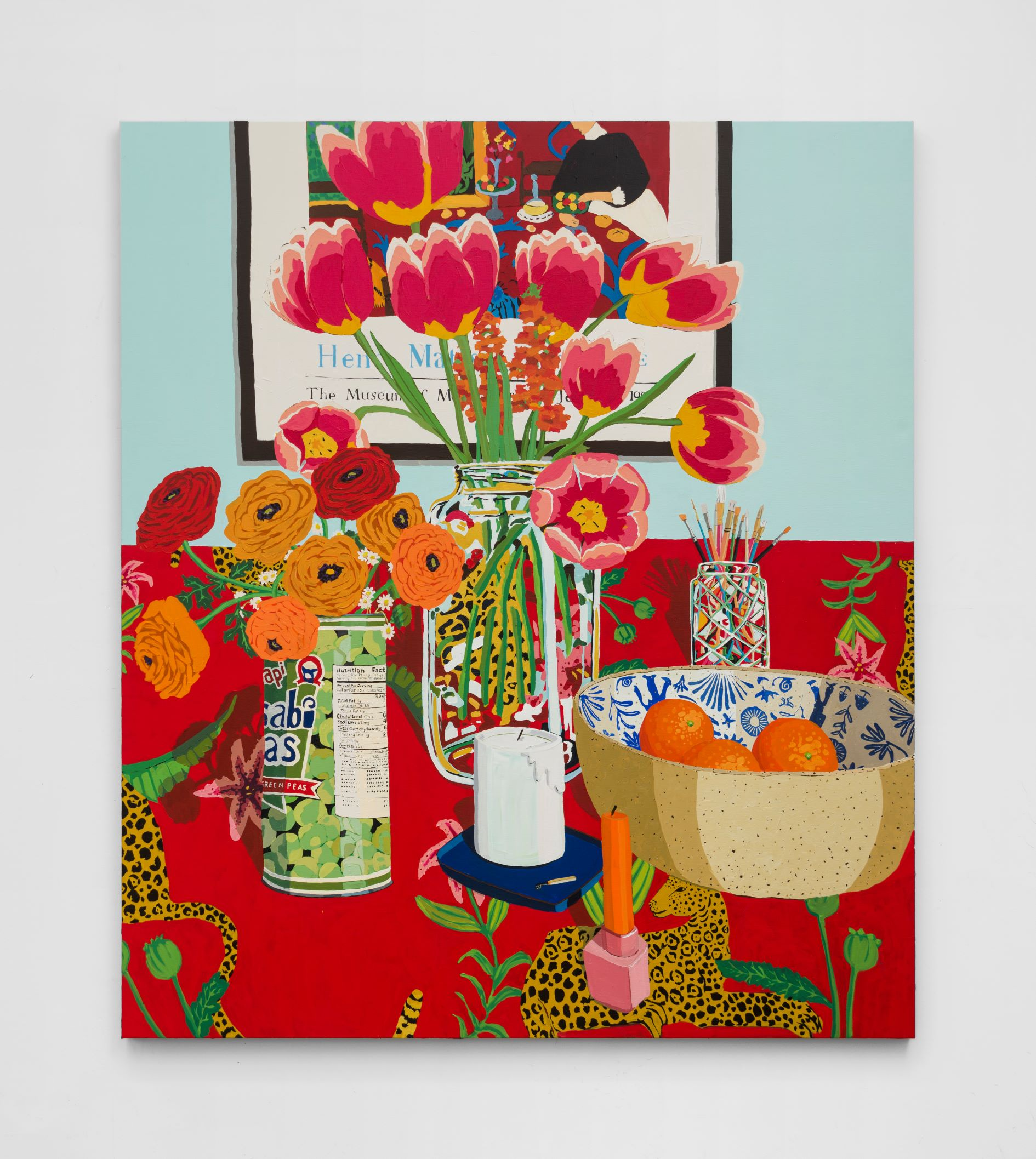 Hilary Pecis, Tulips, Ranunculus, and Oranges, 2021. Acrylic on canvas, © Hilary Pecis, image courtesy of the artist.