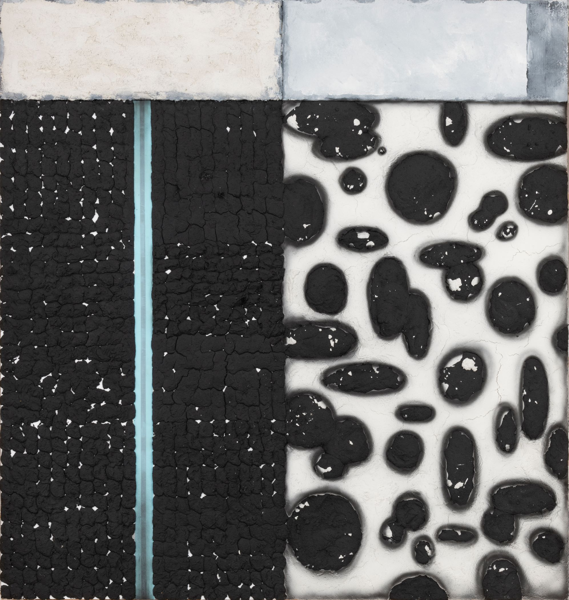 Vaughn Spann, Greyson, 2019, Polymer paint, flashe paint, and terry cloth on stretcher bars, 84 x 80 Inches, Unframed: 84 x 80 x 2 inches, Courtesy the artist and Night Gallery, Los Angeles, CA