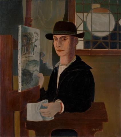 Roy Lichtenstein, Self-Portrait at an Easel, c. 1951–1952. Oil on canvas, 34 1/16 x 30 1/8 inches (86.5 x 76.5 cm). Private collection. Estate of Roy Lichtenstein.
