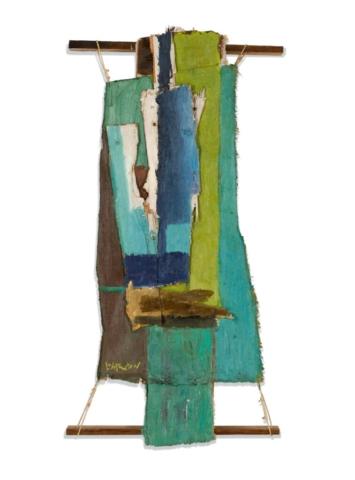 Roy Lichtenstein, Untitled, c. 1955. Painted canvas, painted scrap wood, wood battens, bolts, screws, string; 26 3/4 x 13 9/16 x 3 13/16 inches (67.9 x 34.4 x 9.7 cm). Private Collection. Estate of Roy Lichtenstein.