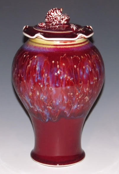 Gail Russell - Copper Red Pinecone-lidded Jar
